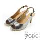 GDC-都會時尚扣帶真皮高跟魚口涼鞋-槍灰色 product thumbnail 1