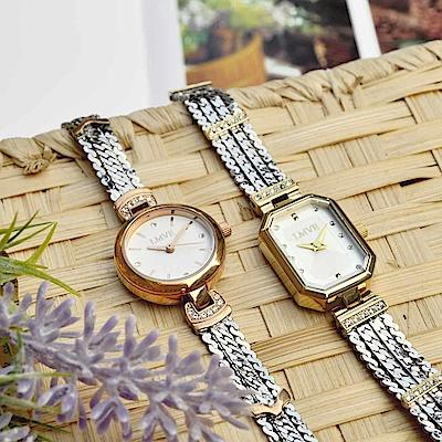 LMVE 都會質感晶鑽時尚腕錶-兩款兩色任選