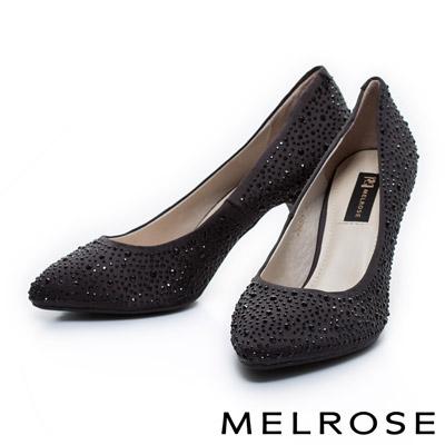MELROSE-質感閃耀水鑽尖頭高跟鞋-黑