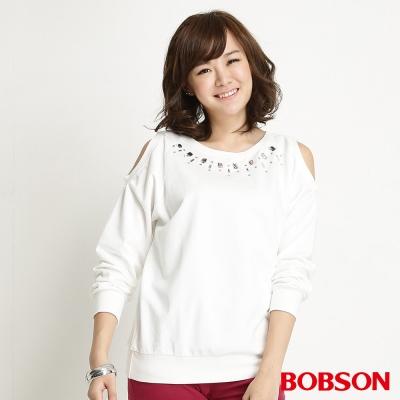 BOBSON-女款鑽飾裸肩長袖米白上衣