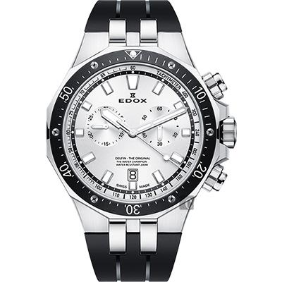 EDOX Delfin 水上冠軍專業200米防水計時碼錶-黑圈x黑錶帶/43mm