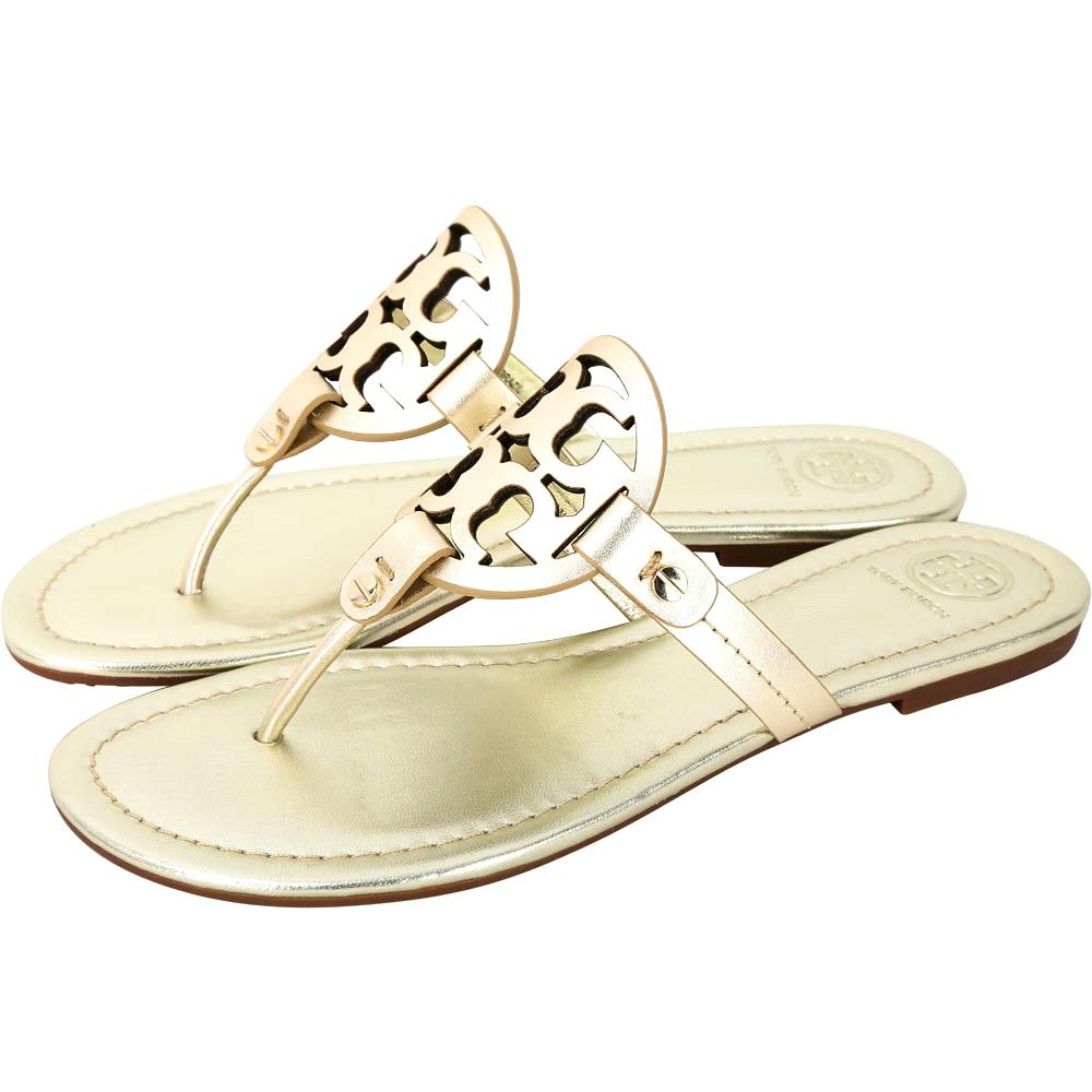 TORY BURCH Miller 品牌LOGO夾腳拖鞋(香檳金)