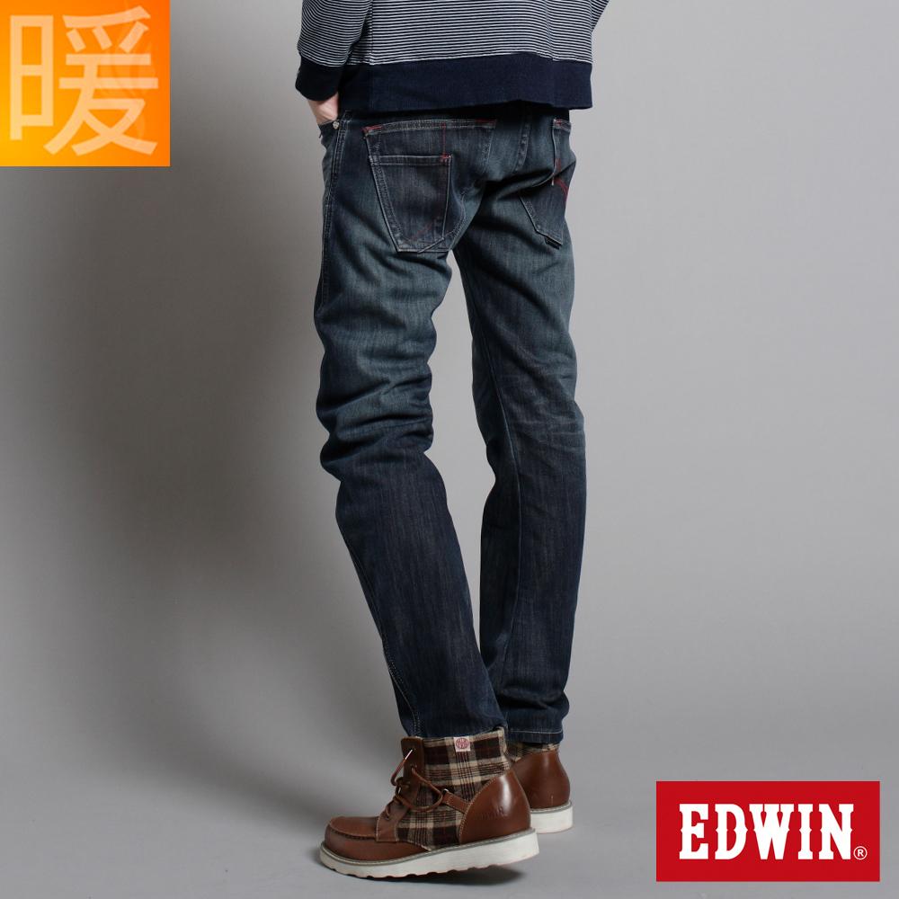 EDWIN 大尺碼窄直筒W-F EF迷彩保溫褲-男-中古藍