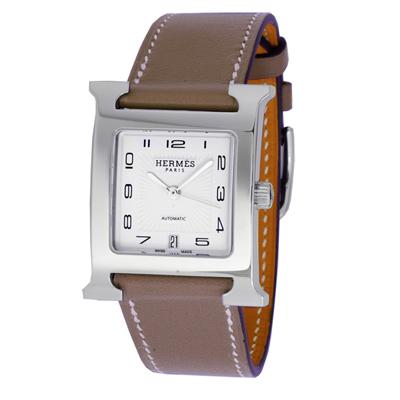 HERMES愛馬仕 H-OUR 中型自動機械腕錶-大象灰錶帶/26mm