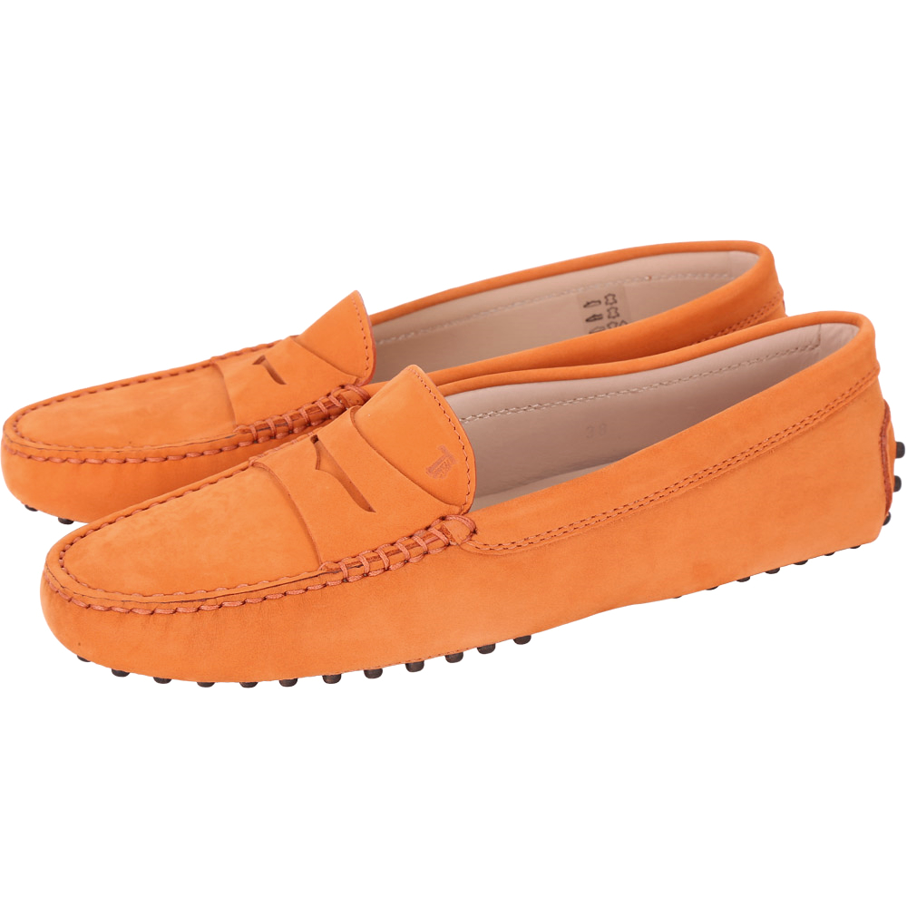 TOD'S Gommino Driving 麂皮豆豆休閒鞋(女鞋/橘色)