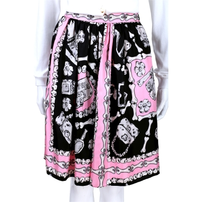 MOSCHINO 粉x黑色骨頭印花及膝裙