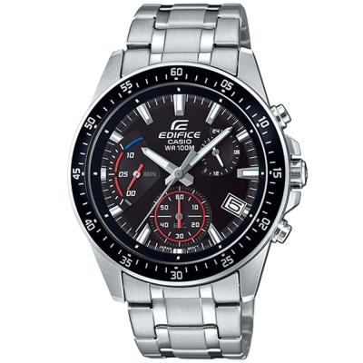 EDIFICE魅力釋放簡約時尚三針三眼指針錶(EFV-540D-1A)黑框X黑43.8mm