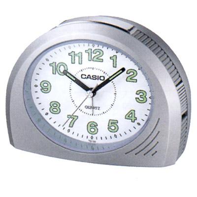 CASIO 1/2橢圓流線感鬧鐘(銀灰色)