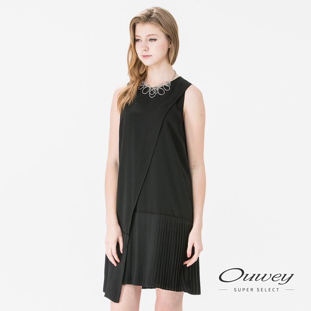 OUWEY歐薇 時尚簡約斜裁背心洋裝(黑)