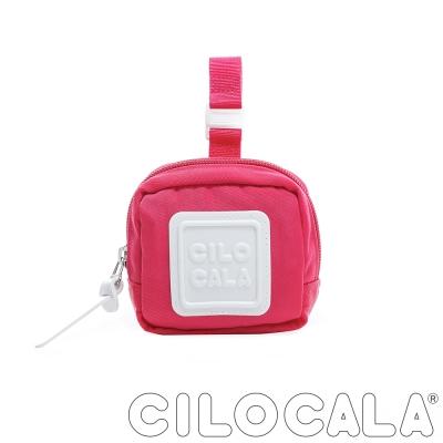CILOCALA 亮彩尼龍防潑水可扣式零錢包 亮粉色