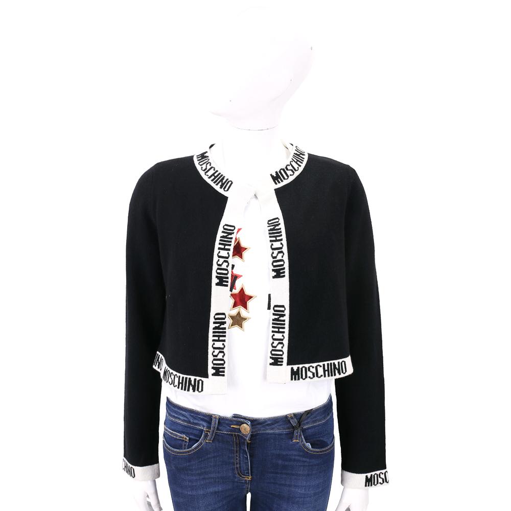 MOSCHINO 黑色品牌字母滾邊設計短版針織外套 (70%WOOL)