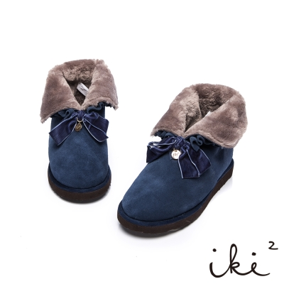 iki2雪靴華麗2way毛毛反折雪靴-深藍