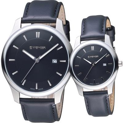 瑞士 WENGER City 城市經典對錶(011441101+011421103)黑