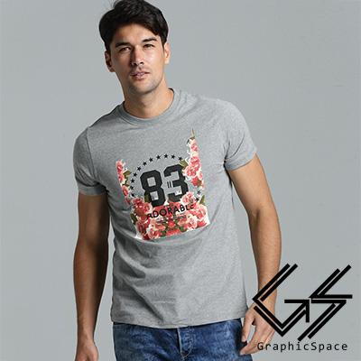 玫瑰星星83號磨毛水洗T恤(共三色)-GraphicSpace