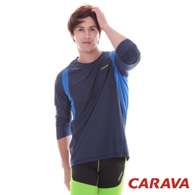 CARAVA《男款竹碳排汗長T》(深藍)
