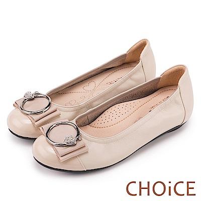 CHOiCE 舒適甜美 造型蘋果鑽飾平底娃娃鞋-米色