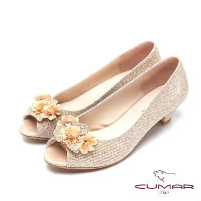 CUMAR-美人水鑽裝飾低跟魚口宴會鞋-金
