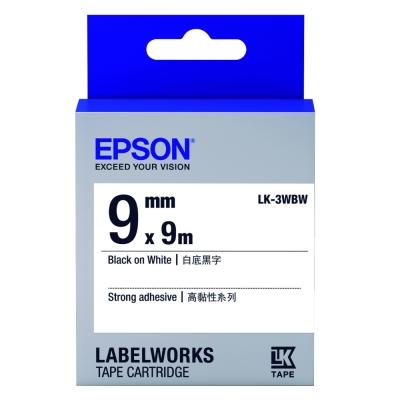 EPSON C53S653410 LK-3WBW高黏性白底黑字標籤帶(寬度9mm)