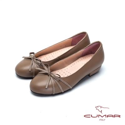 CUMAR舒適通勤羊皮蝴蝶結娃娃鞋可可