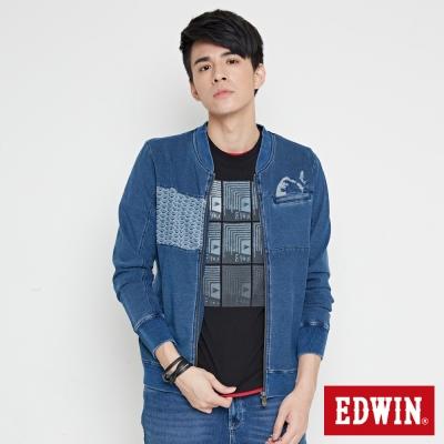 EDWIN 江戶勝 INDIGO 波浪拼接拉T外套-男-石洗藍