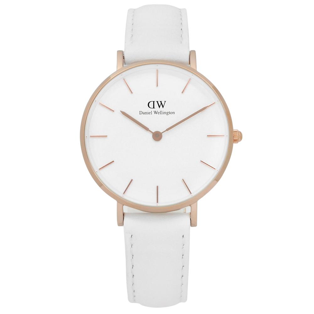 Daniel Wellington Classic清新經典真皮手錶-白x玫瑰金框/32mm