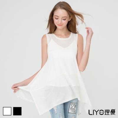 LIYO理優雪紡拼接針織罩衫(白,黑)