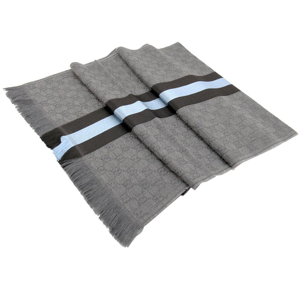 GUCCI GG提花針織圍巾(灰x水藍)GUCCI