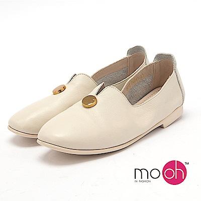 mo.oh-全真皮-金屬扣低跟柔軟休閒懶人鞋