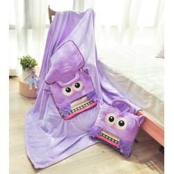 亞曼達Amanda 立體卡通兩用法萊絨抱枕毯子-貓頭鷹(紫)