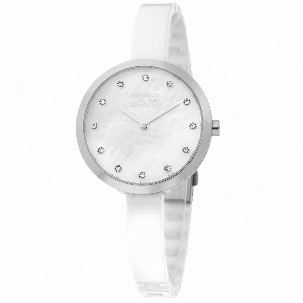 NATURALLY JOJO 純愛典雅時尚陶瓷腕錶-珍珠母貝 銀x白/33mm