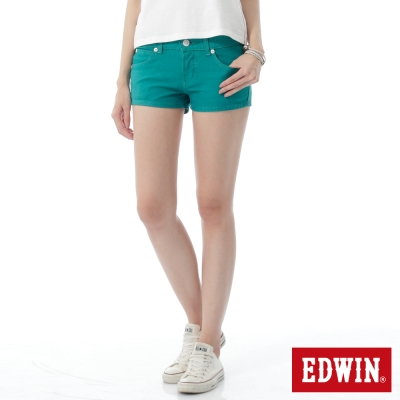 EDWIN 迦績褲JERSEYS短褲-女-藍綠色