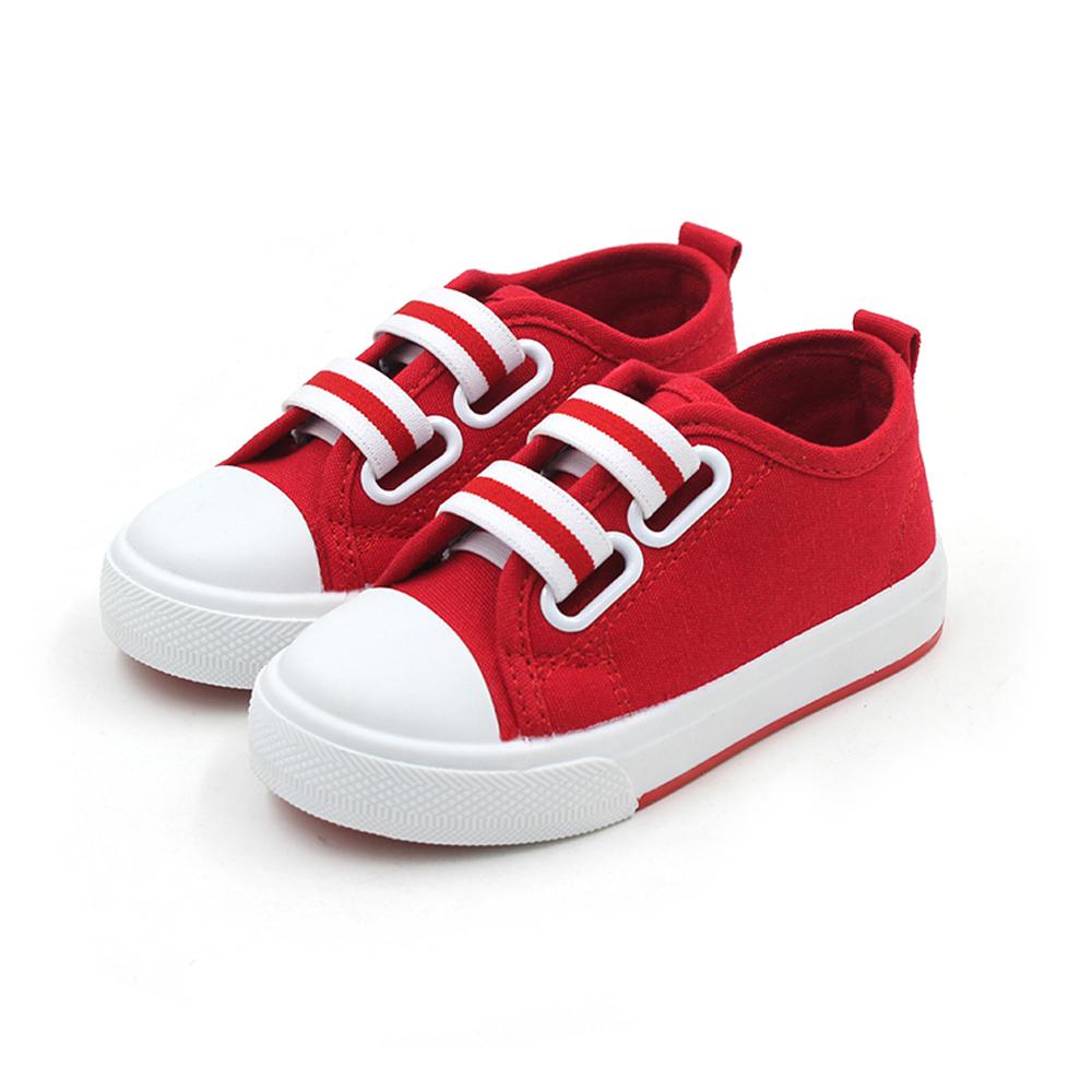 糖果色條紋款四季兒童時尚帆布板板鞋(紅)
