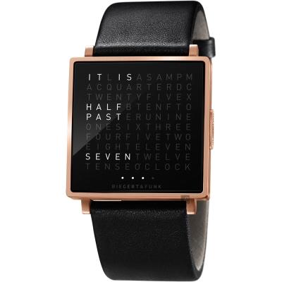 QLOCKTWO Watch 潮流時尚文字手錶-玫瑰金框x橡膠錶帶/35mm