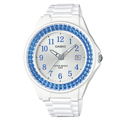 CASIO漾鑽女王簡潔時尚風指針日曆腕錶(LX-500H-2B)白X藍框40.6mm