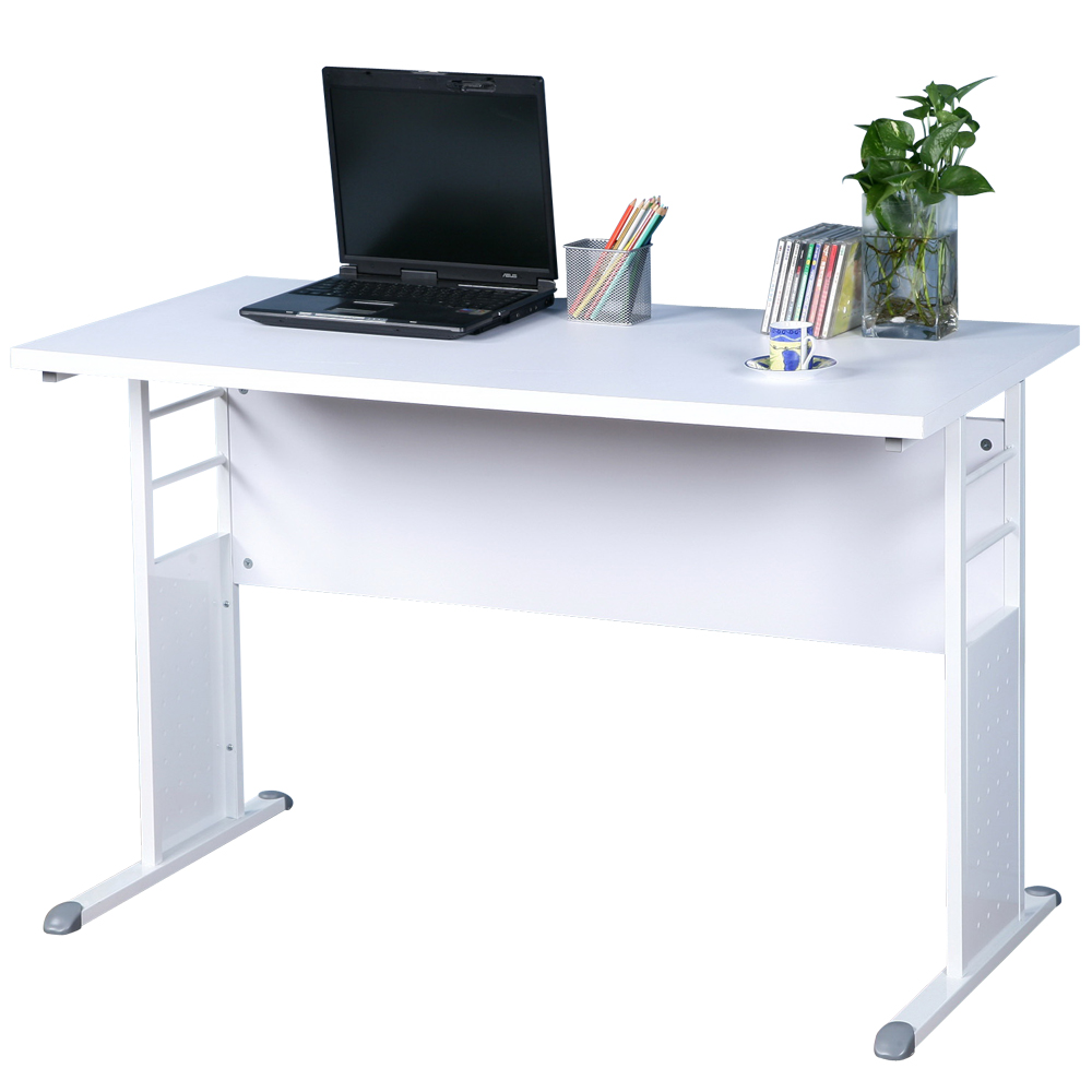 Homelike 巧思辦公桌 亮白系列-白色加厚桌面120cm