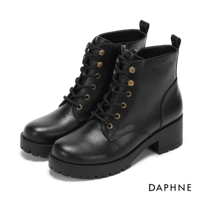 達芙妮DAPHNE 短靴-繫帶雙鉚釘馬丁短靴-黑
