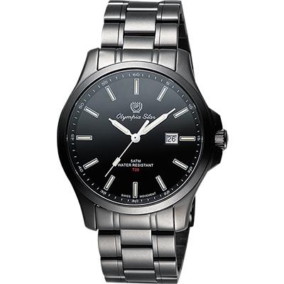 Olympia Star 夜鷹系列T25時尚腕錶-IP黑/40mm