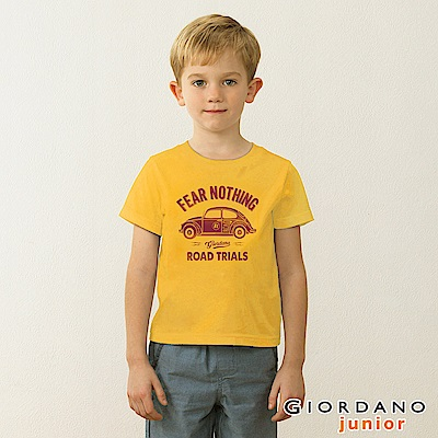 GIORDANO 童裝英文口號復古造型純棉印花T恤-28 金章黃