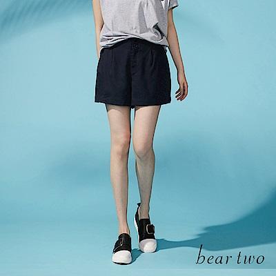 beartwo 排釦造型天絲滑順短褲(二色)