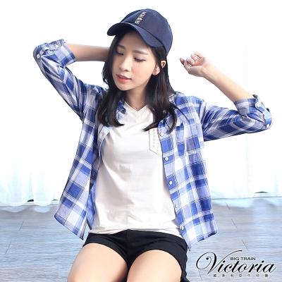 Victoria 口袋星星刺繡V領基本短袖T-女-白色