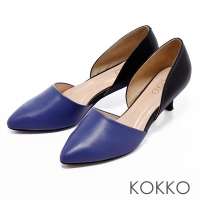 KOKKO摩登黑白配-歐美百搭中空雙色拼尖頭低跟鞋-藍X黑