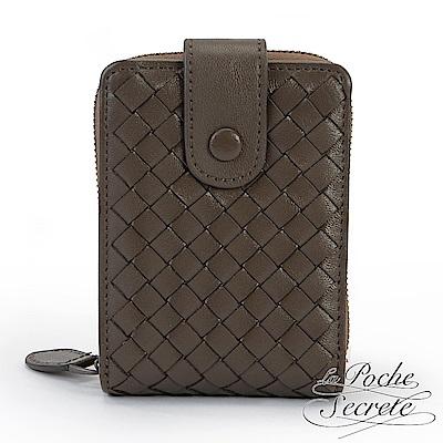 La Poche Secrete 經典編織小羊皮證件拉鍊卡夾包-經典咖