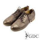 GDC-紳士風真皮點點素面牛津鞋-咖啡色