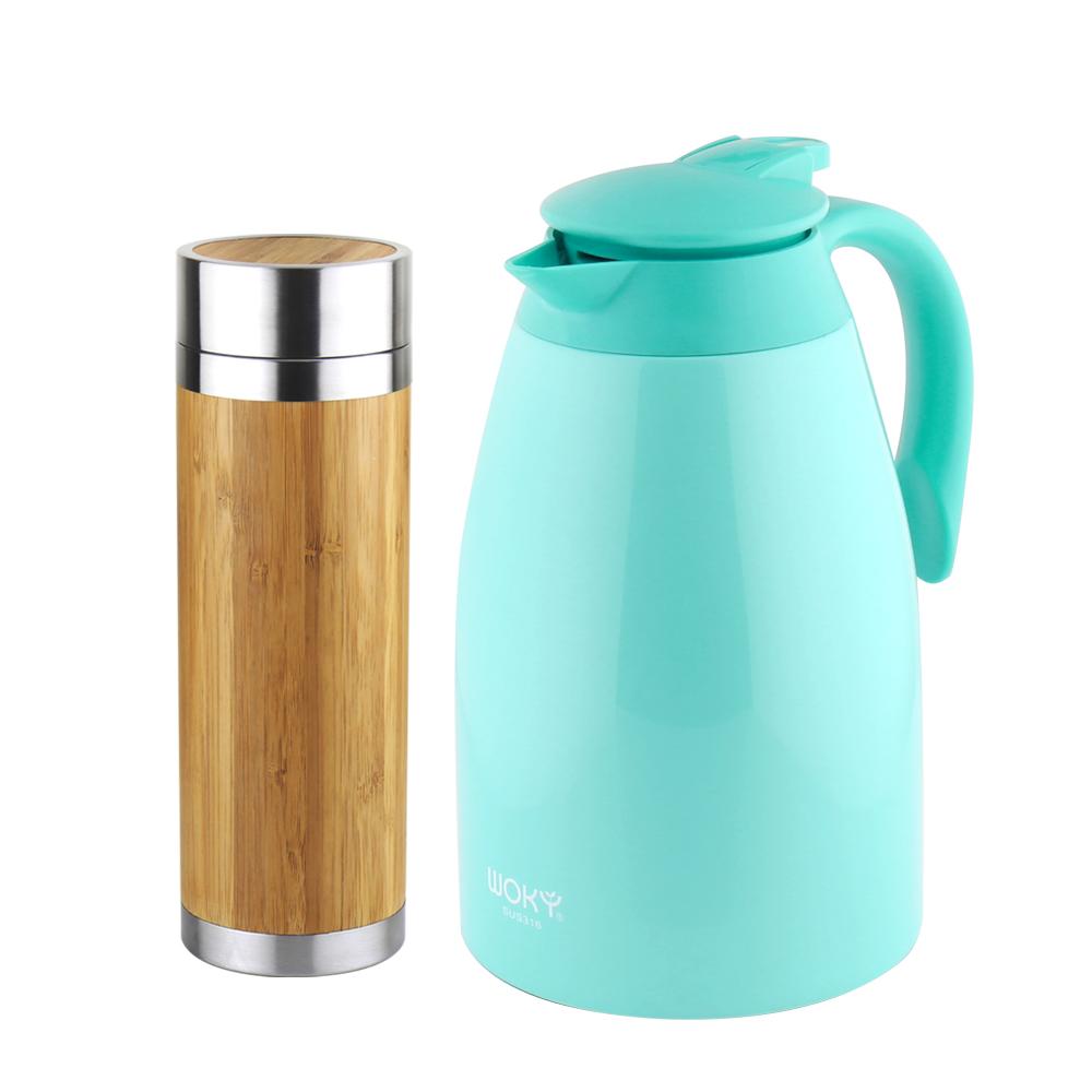 WOKY沃廚 316不鏽鋼和風竹雅真空保溫瓶300ml附濾茶網+大容量1500ml