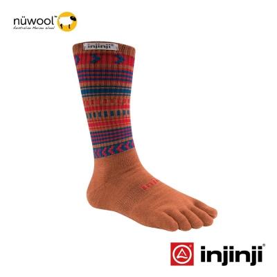【Injinji】Outdoor戶外羊毛五趾中筒襪-民俗棕
