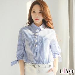 直紋蝴蝶結寬鬆五分袖襯衫 S-XL LIYO理優