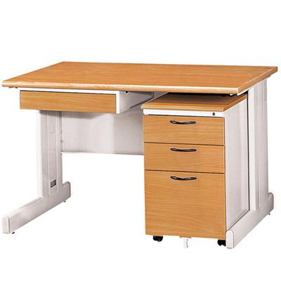 時尚屋中抽木紋色辦公桌櫃組(120x70)