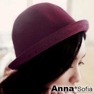 AnnaSofia 俏麗Q呢 仿羊毛呢小圓帽禮帽(酒紅)