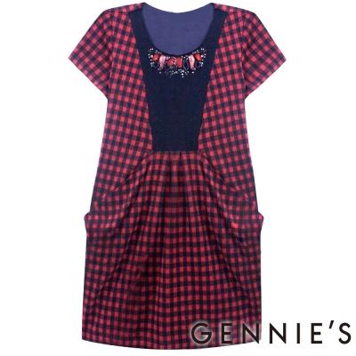 Gennies奇妮-經典寶石紅格紋秋冬洋裝(H2207) -紅