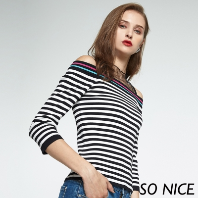 SO NICE網紗針織條紋上衣-動態show